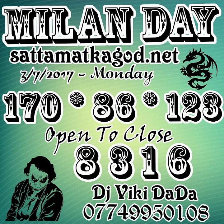 3/7/2017 – MILAN MATKA FIX SINGLE JODI PANNA – Satta Matka